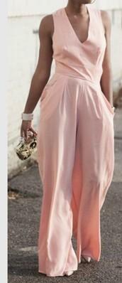 jumpsuit,blush pink