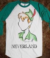 t-shirt,peter pan,green,white,neverland,sleeves,long sleeves,shirt