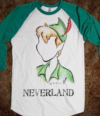 t-shirt peter pan green white neverland sleeves long sleeves shirt