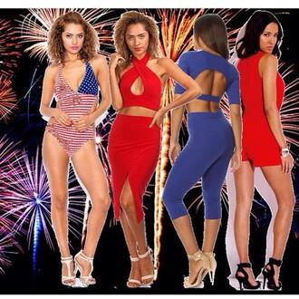dress trendyish red blue white july 4th dress set pant set leggings skirt romper swimwear flag open back halter neck sexy party instagram tumblr blogger