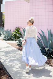 late afternoon,blogger,skirt,top,shoes,jewels,bag,sunglasses,tumblr,maxi skirt,blue skirt,white lace top,lace top,long sleeves,spring outfits,sneakers,white sneakers,low top sneakers,light blue