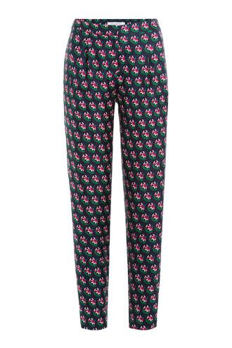 pants floral print silk