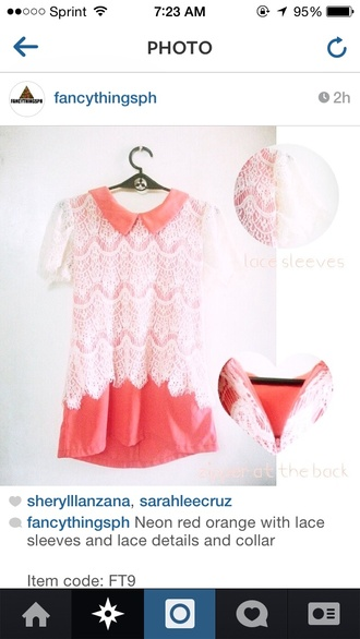 shirt neon lace pinkish orange red lace sleeves collar lace details peter pan collar orange lace detail