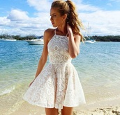 dress,trendy dress,trendy,halter neck,lace,lace dress,fit and flare dress,pretty,fashion,halter neck dress,halter dress,blanche,prom dress,cute dress,summer dress,white dress,short dress,tumblr,girl,girly,sexy dress,necklace