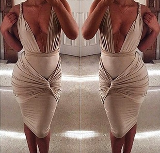 dress khaki bandage dress bodycon dress kookai