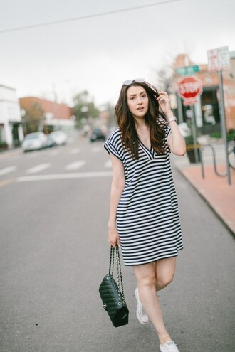themiddlecloset blogger dress shoes sunglasses jewels bag striped dress chanel bag spring outfits