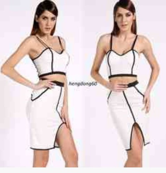 dress white with black lining two piece dress