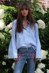 mode d'amour,blogger,shoes,bag,bell sleeves,button up,blue top,skinny jeans,embroidered,embellished,stella mccartney,blue shirt