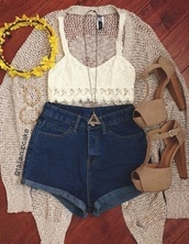 blouse,top,white,white blouse,crop,crop tops,white crop tops,vintage,cute,festival,shorts,rollup shorts,roll up,denim,jewels,necklace,gold necklace,gold,long necklace,triangle necklace,triangle,hat,headband,flower headband,yellow,black,navy,blue,braclet,he heels,high heels,strappy heels,nude,nude heels,high waisted denim shorts,shoes,jeans,tank top,sweater