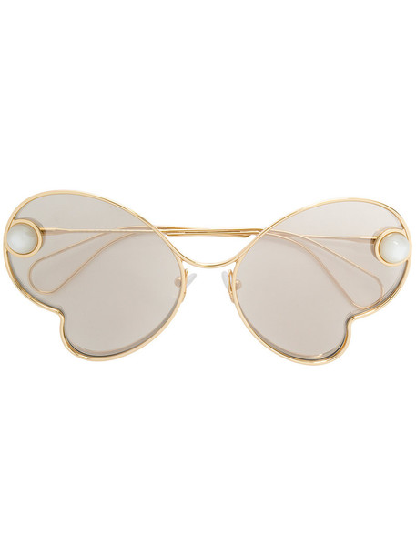 Christopher Kane Eyewear - embellished sunglasses - women - metal - 63, Grey, metal in metallic