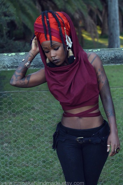 top burgundy strap tank top wrap shirt wrap top hood straps hooded shirt