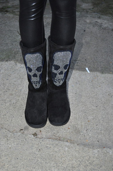 strass paillettes l boots black shoes skull ugg