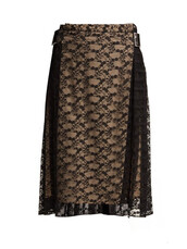 skirt,midi skirt,midi,lace,floral,black