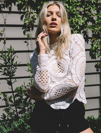 blouse girl girly girly wishlist lace lace top crochetc crochet top long sleeves cute style top mynystyle white lace top casual trendy boho boho chic