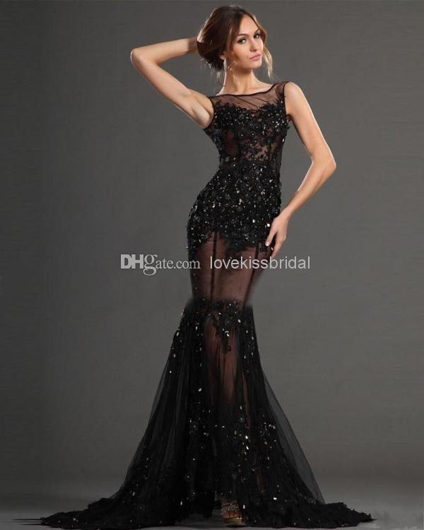 Discount Sexy See Through Mermaid Prom Dresses Sheer Scoop And Back Sleeveless Appliques Sequins Sweep Train Lace Evening Gowns Celebrity Dress Online with $139.27/Piece | DHgate