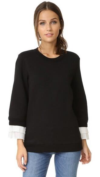 sweatshirt pleated white black sweater