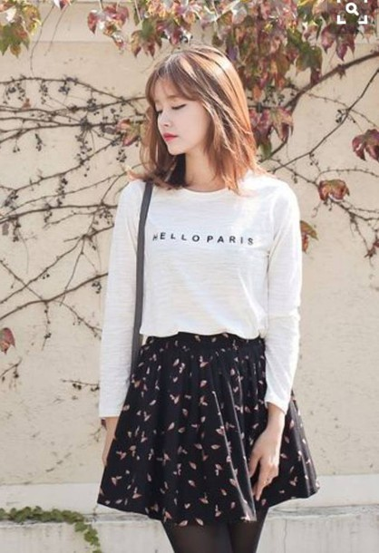 Shirt Skirt Korean Fashion Black White Korean Fashion