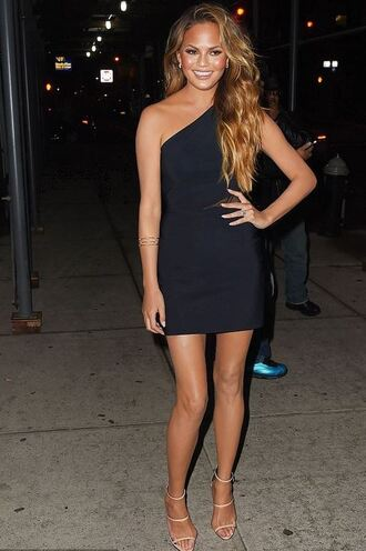 dress one shoulder chrissy teigen sandals mini dress black dress shoes