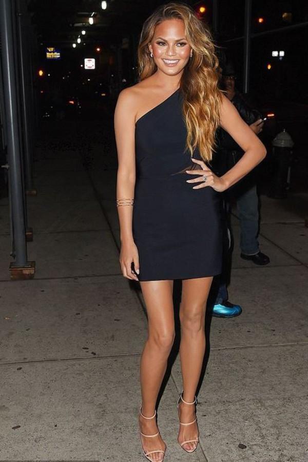 Dress One Shoulder Chrissy Teigen Sandals Mini Dress