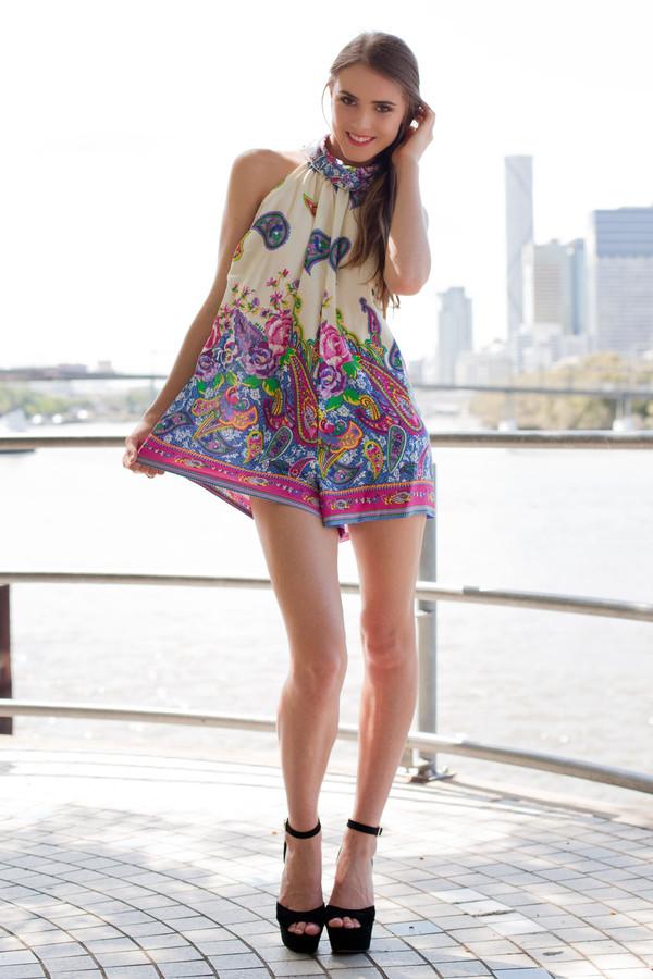 dress romper romper turtleneck paisley floral cute shopfashionavenue