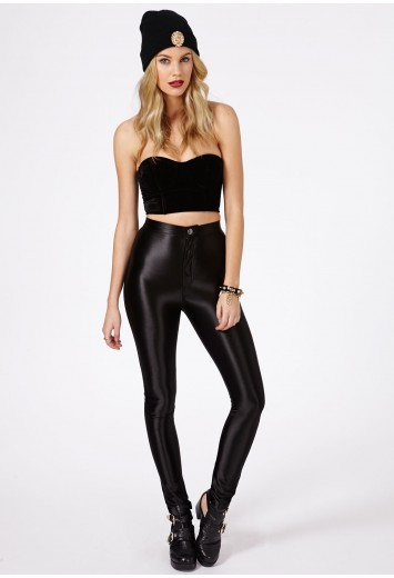 Kadira Shiny Disco Pants-trousers-missguided | Ireland