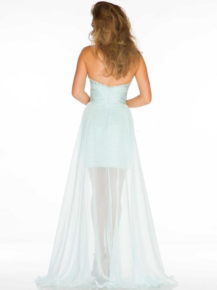 Sweetheart High Low Green Chiffon Sheath Column Homecoming Dress Omd0075