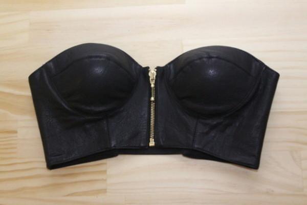 black summer summer outfits bustier top corset leather black shirt underwear bralette zip black underwear