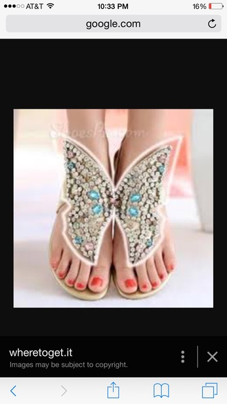 shoes butterfly rhinestones