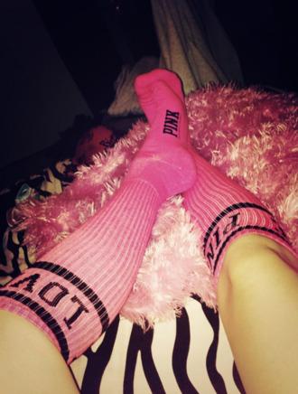 shoes victoria's secret love pink pink black high socks socks long socks pink by victorias secret