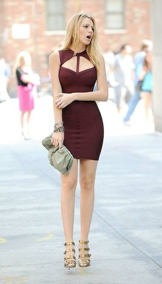 dress gossip girl serena van der woodsen blake lively burgundy dress