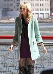 tights,gwen stacy,emma stone,the amazing spider man 2,the amazing spider man,blouse,jacket,skirt,dress,coat,green jacket,celebrity style,beautiful,spider-man,aqua