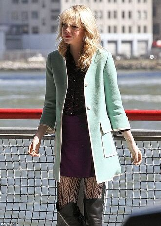 tights gwen stacy emma stone the amazing spider man 2 the amazing spider man blouse jacket skirt dress coat green jacket celebrity style beautiful spider-man aqua