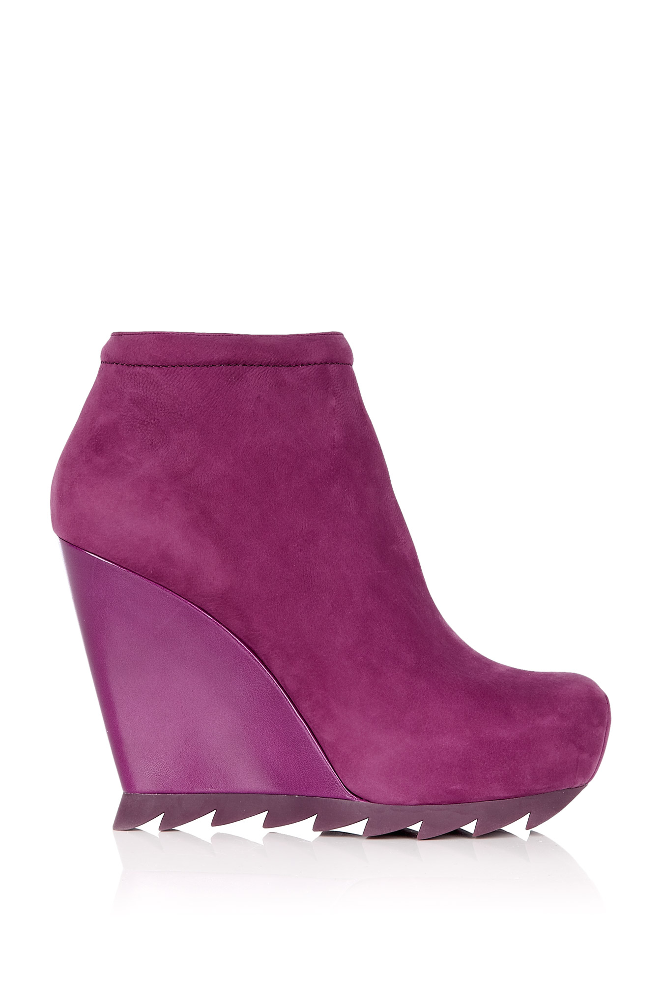 Burgandy ankle wedge boot with saw sole by camilla skovgaard