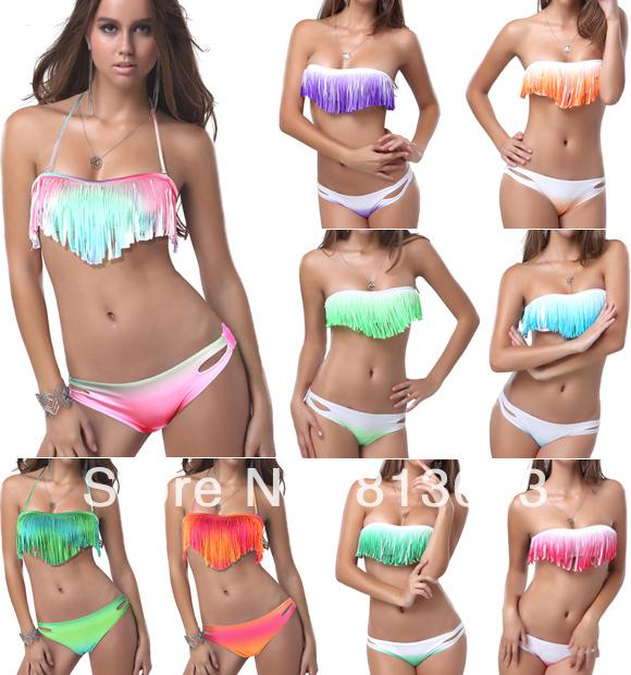 2014 Newest Summer Sexy Women Bikini Boho Padded Girl's Swimwear Colorful Fringe Tassels Real Class Swimsuit 10 Colors#P040-in Bikinis Set from Apparel & Accessories on Aliexpress.com