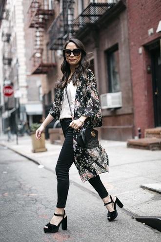 coat kimono floral kimono pants black pants top black sandals bag gucci bag sunglasses white top sandals