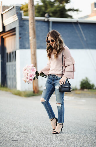 dress corilynn blogger sweater jeans sunglasses jewels shoes bag shoulder bag sandals high heel sandals ripped jeans fall outfits