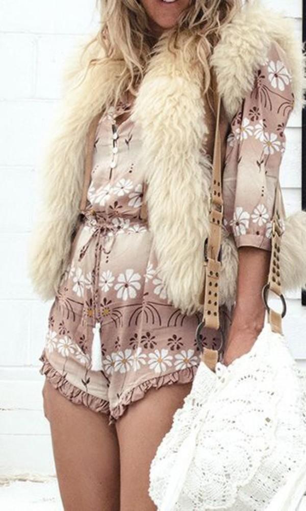 bag crochet bag bohemian bag bohemian boho hippie romper fur vest fur vest shorts gypsy