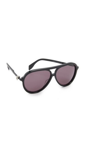 skull smoke sunglasses aviator sunglasses black