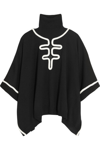 poncho wool black top