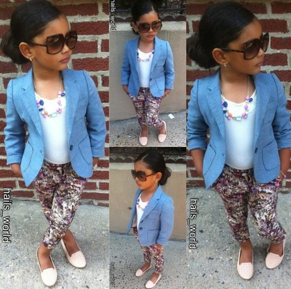 jacket girls girly kids fashion denim blazer floral loafers sunglasses