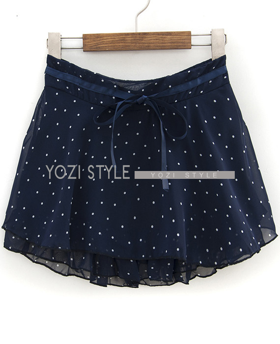 Tie-Waist Dotted A-Line Skirt - YOZI | YESSTYLE