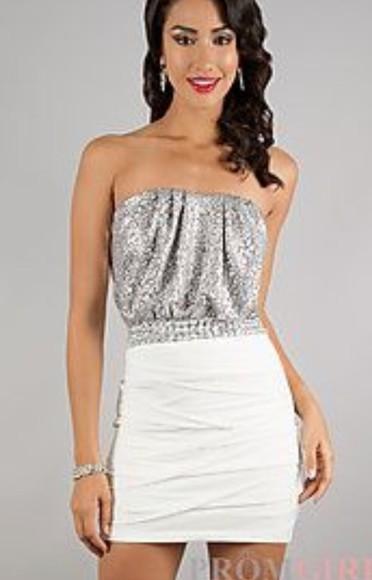 sparkle dress sparkles white dress silver dress homecoming dress homecoming dresses cute dress