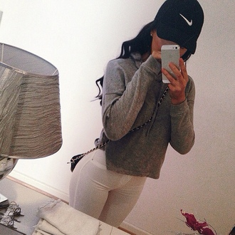 jacket nike grey iphone5 white jeans hat