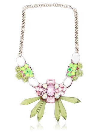necklace floral pink green jewels