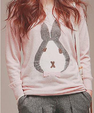 sweater grey sweater weather kawaii bunny bowtie pink
