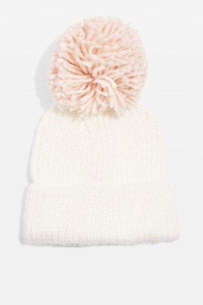 Topshop oversized hat beanie pom pom beanie cream