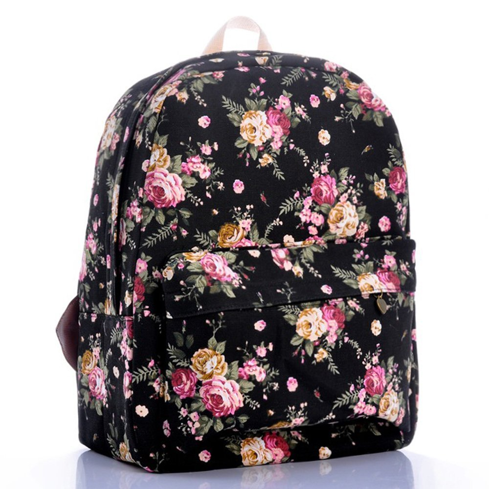Amazon.com : Coofit® Casual Canvas Print Floral Cartoon School Backpacks (Black Roses) : Baby