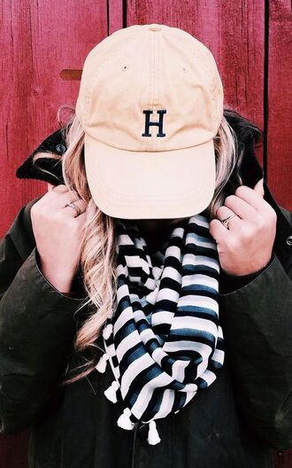 hat stripes striped scarf fall accessories beige baseball hat tumblr beige beige cap cap scarf jacket army green jacket