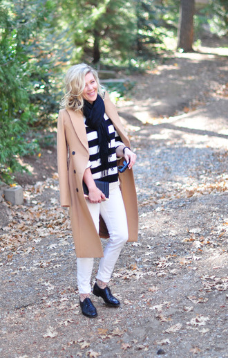 love maegan blogger camel coat striped sweater