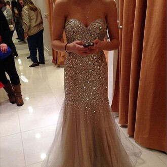 dress prom dress glitter sparkle gold sequins glitter dress